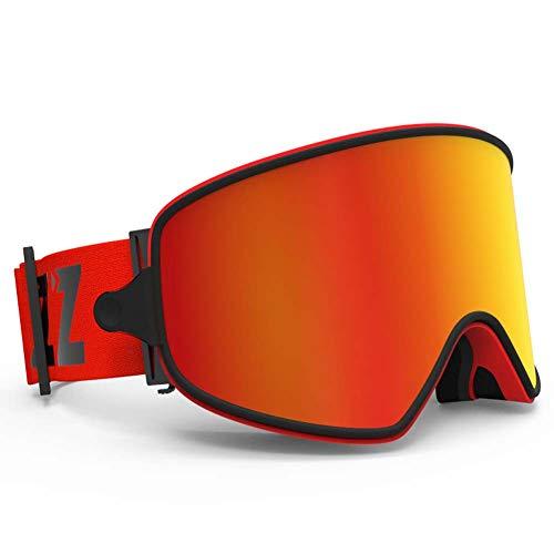 Qnlly G1 Skibrille Für Snowboard Jet Snow - Für Frauen Männer Damen Jugend Teen - OTG Over Glasses Anti Fog UV-Schutz,Orange