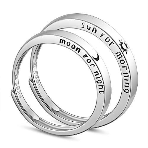 SHEGRACE Coppia di FEDI Nuziali in Argento Sterling 925 + Anello Partner in Zirconia Cubica 3A, Platino, Regolabile, Regalo per San Valentino