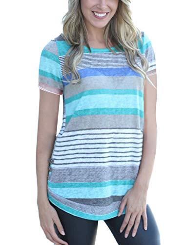 Women's Casual Color Block Short Sleeve T Shirt Tunic Tops BLouse