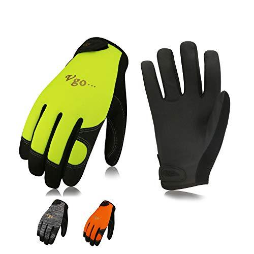 Vgo, 3 paia, guanti da lavoro e meccanico in PU, guanti da giardino e da meccanico, edile, multifunzione,Touchscreen (9/L, Grigio&Arancione&Verde,PU8718)