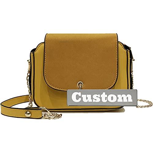 Nombre Personalizado Bolso de Hombro de Cuero para Mujeres Bolsos de Bolsa Casual medianos (Color : Amarillo, tamaño : One Size)