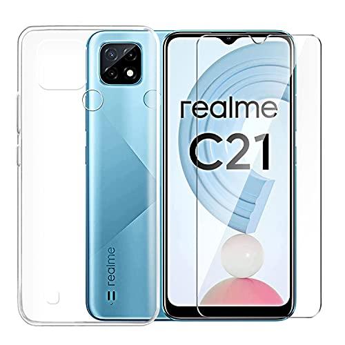 Funda + Cristal Templado para Realme C21, Tsingwe Protector de Carcasa Suave...
