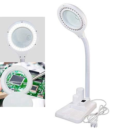 YWSZY Portátil Ajustable Lupa LED Lámpara De Aumento 5 X 10X Lupa Y Mesa Y Lámpara De Escritorio con La Luz For La Tercera Edad Leer (Color : White)