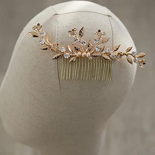 Peineta de cristal para el pelo de boda, diseño floral, color dorado,...