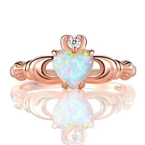 GEMSME Rose Gold Flashed Created 6mm White Heart Opal Cubic Zirconia Crown Ring (8)