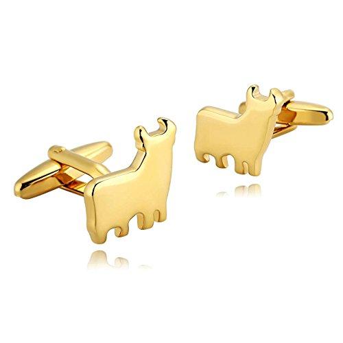 KnSam - Gemelos Hombre Acero Inoxidable Rhino Oro Letra para el Regalo de Boda del Negocio para los Hombres