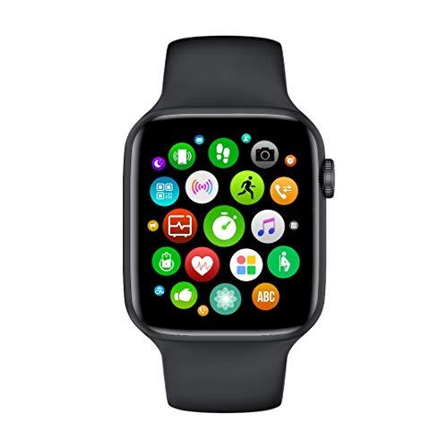 Tuni W46 - Smartwatch da uomo, impermeabile IP68, 1,75 pollici, temperatura corporea, pressione arteriosa, battito cardiaco, iOS e Android