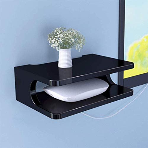 JHSHENGSHI Floating Shelf for 2 Levels TV Components, Wall-Mounted Media Console Shelf Used Living Room and Bedroom Control/Router/Small Pot Storage