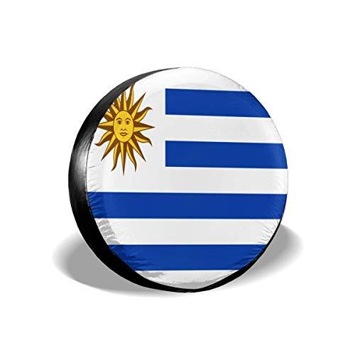 GOSMAO Bandera de Uruguay Cubierta de neumático Ajustable con protección Solar Impermeable de 16 Pulgadas, Adecuada para automóvil, SUV, RV, Remolque, Cubierta de Rueda de neumático de 16 Pulgadas