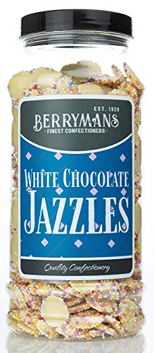 Original White Chocolate Jazzles Snowies Jazzies Retro Sweets Gift Jar by Berrymans Sweet Shop - Classic Sweets, Traditional Taste.