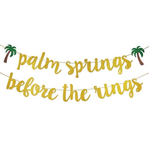 Palm Springs Before the Rings Banner Sign Garland Pre-strung for Destination Bachelorette Party Bridal Shower Decorations