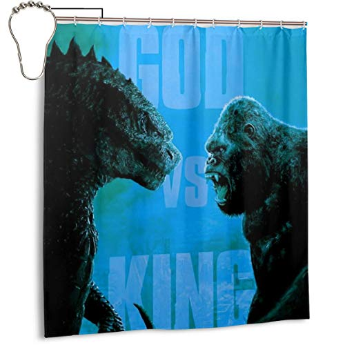 """66"""" x 72"""" Vintage Bathroom Window Curtains for Home Holiday, Waterproof Durable No Odor Bath Shower Drapes - Godzilla Monsters Vs King Kong 2020 Poster"""