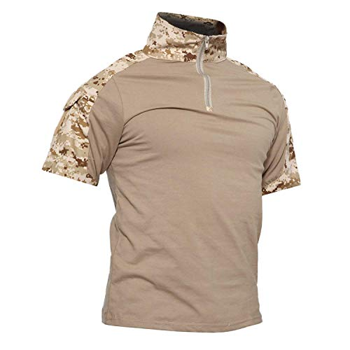 LiliChan Camisas Tácticas de Manga Corta para Hombres Camisa Militar Camisa para Exteriores Camisa de Combate Táctica con Cremallera (x-Large, Desierto Digital)