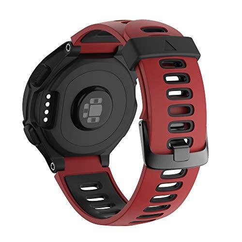 NotoCity Bracelet 735xt Forerunner Montre Fitness Tracker Silicone Souple Bracelet de Replacement Sport Compatible Forerunner 230/235/620/630/735XT Boucle Noire (Rouge Noir)