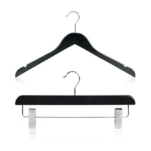 Hangerworld Set de 30 Perchas 45cm Madera Negro con Pinzas de Metal para Pantalón y Falda