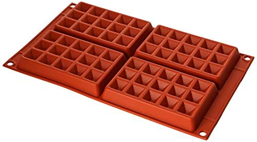 SF155 Molde de Silicona Forma waffel de tamaño Grande 4 cavidades, Color Terracota