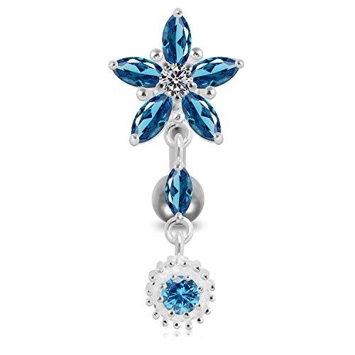 Licht Blau Kristall Stein trendigen Flower Design Sterling Silber Bauch Bars Piercing