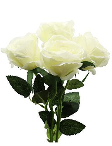 Derbway 4PCS Rosas Artificiales Flor De Seda, Ramo de Flores de Tacto Real de un Solo Tallo para Fiesta, Boda, Hogar, Decoración de Hotel (Blanco)