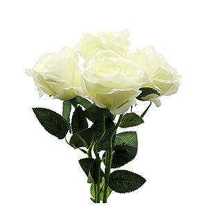 Derbway 4PCS Rosas Artificiales Flor De Seda, 14.17'' Ramo de Flores de Tacto Real de un Solo Tallo para Fiesta, Boda…