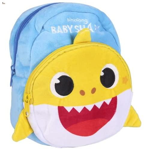 BricoLoco. Mochila de peluche Baby Shark Mochila infantil guardería, escolar, piscina, playa. Regalo original. Mochila peluche bebe.