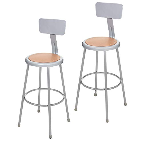 (2 Pack) OEF Furnishings Grey Shop Stool With Backrest, 30