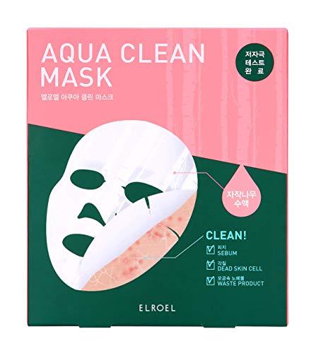 Elroel Aqua Clean Mask, 5 Maske Pack, Gesichtsmaske mit Birkensaft, Exfolierende und nährende und reinigende Bio-Cellulosemaske, Masken von je 20 g