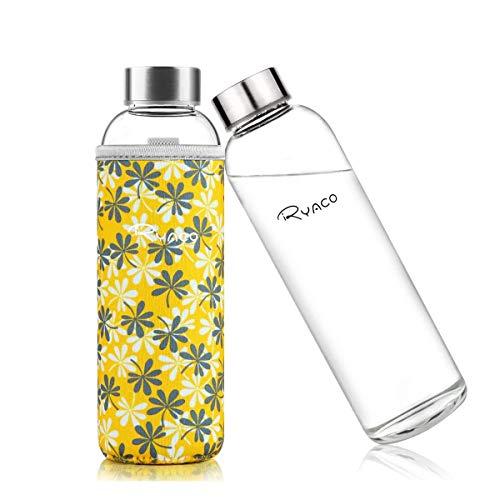 Ryaco Botella de Agua Cristal 550ml, Botella de Agua Reutilizable 18 oz, Sin BPA Antideslizante Protección Neopreno Llevar Manga y Cepillo de Esponja (550ml, Flores Amarillas) ⭐