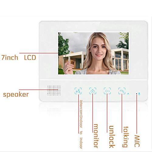 Kits de timbre de videoportero, sistema de videoportero, pantalla táctil LCD Tft de 7 pulgadas Edificios de oficinas para apartamentos, villas familiares, mejoras para el hogar(Transl)