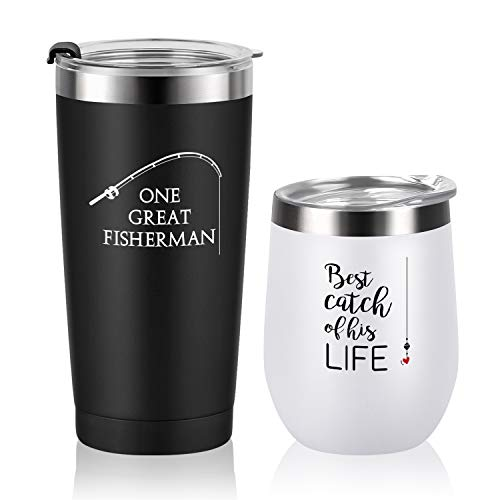 Unique Wedding Anniversary Gifts for Couple, One Great Fisherman, Best Catch of His Life Stainless Steel Insulated Wine Tumbler Travel Tumbler 2 Pack, Wedding Gifts for Lovers Friend Parents Wife