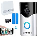 EEUK Timbre inteligente con cámara inalámbrica compatible con Alexa - 1080p HD Wifi Intercomunicador Video Timbre de puerta - Visión nocturna - Alertas activadas por movimiento