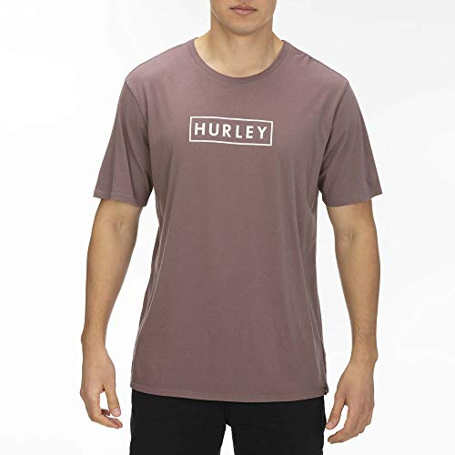 Hurley Men's Boxed Logo Short Sleeve Tshirt, Plum Eclipse/(Pale Ivory), S