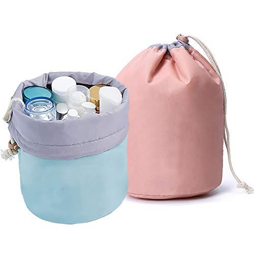 GCOA 2 Stück Kosmetiktasche,Reise-Fass Kosmetikbeutel Makeup Bag Wasserdicht Große für Frauen und Mädchen(Hellrosa und Blau)