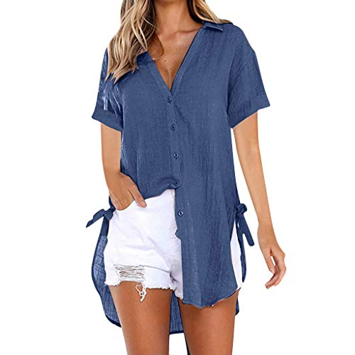 Momoxi Damen Sommer Loose Button Long Shirt Kleid Baumwolle Casual Tops T-Shirt Bluse Frauen Fashion Top Tank Button Kurzarm Shirt Longshirt Hemd Tanktops Sexy top Tank Tops t-Shirt Marine XL