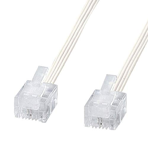 サンワサプライ電話ケーブル(スリム・ホワイト・5m)TEL-S2-5N2