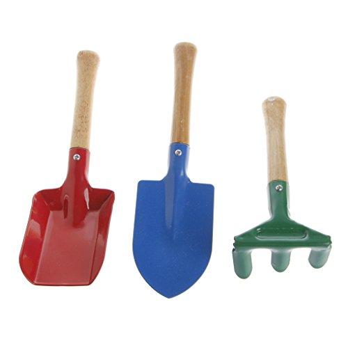 Manyo 3pcs niños niños Mini jardín herramientas Conjunto Paleta Rastrillo Jardín Pala Casa Jardín playa jardín Fournitures juguete