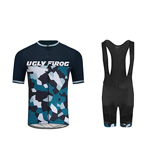 Uglyfrog Herren Atmungsaktiv Schnelltrocknend Fahrradtrikot Set, Outdoor Kurzarm Radsport-Shirt + 20D Gel Gepolsterte Kurze Hose Fahrradhose