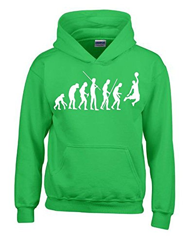 Coole-Fun-T-Shirts Basketball Evolution Kinder Sweatshirt mit Kapuze Hoodie Green-Weiss, Gr.164cm