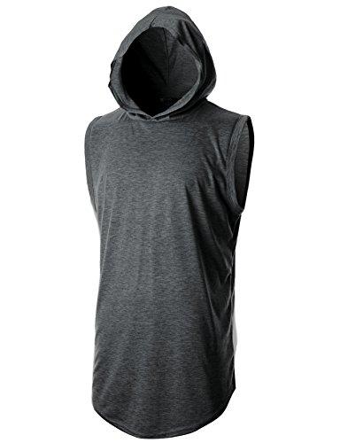 GIVON Hombres Camiseta Inconformista Simple Palangre De Peso Ligero Suéter De Manga Larga Con Capucha De Carbón Dcf025-Pequeño
