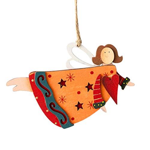 PRETYZOOM 1Pc Christmas Angel Ornaments Christmas Tree Wood Ornament for Xmas Tree Hanging Pendant DIY Doll Party Decoration Random Style
