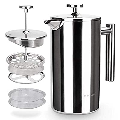Secura Cafetière French Press Coffee Maker, Stainless Steel Insulated Coffee Press, 3-Layered Stainless Steel Filter Structure, Included 2 Extra Screens, 1 Litre, Silver