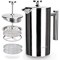Secura French Press Stainless Steel Coffee Maker 34 Oz
