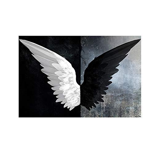 HJGB Pintura en lienzo en blanco y negro poderoso alas de plumas escandinavos carteles e impresiones nórdicas sala de estar mural decorativo sin marco A76 60x90cm