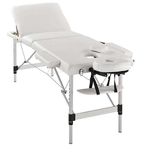 Juskys 3-Zonen Aluminium Massageliege mobil höhenverstellbar & klappbar | weiß | 180x60 cm | Massagebank Massagetisch Behandlungsliege