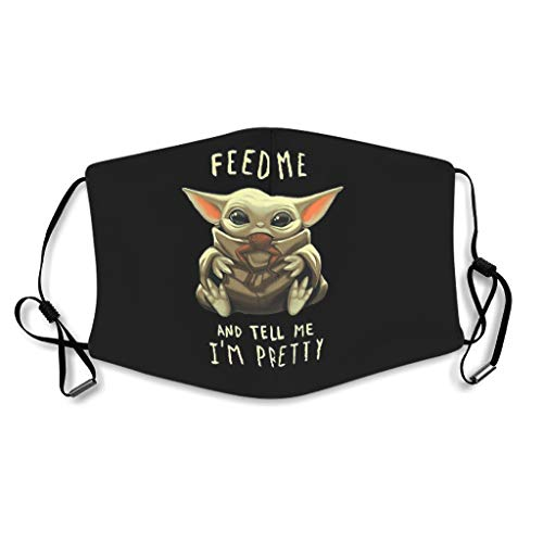 NeiBangM feed me and tell me im pretty baby yoda Face Protector Comfy Breathable Für Angeln Wandern white onesize