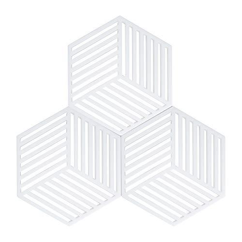 Coomazy 3pcs Untersetzer für Heiße Töpfe und Pfannen, Sillicone Topf Inhaber Pads auch für Küche Löffel Sich ausruhen Matte (Hexagon-Stripe: 160x138x8mm, Weiß)