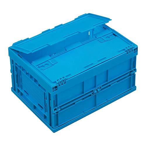 Faltbox aus Polypropylen - Inhalt 22 l, mit anscharniertem Deckel - blau - Behälter aus Kunststoff Faltbox Faltboxen Klappbehälter Klappbox Klappboxen Kunststoff-Behälter Lagerkasten Lagerkästen Stapelbehälters Kunststoff Stapelkasten aus Kunststoff