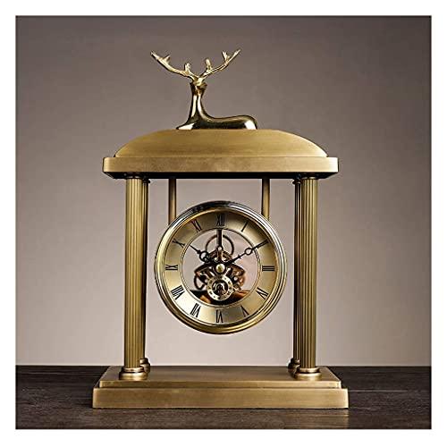 N/Z Home Equipment Desk Alarm Clock European Style Fireplace Clock Desktop Desktop Copper Clocks Living Room Decoration Clock Ornaments Silent Table Clock Golden Table Clock Desk Clock