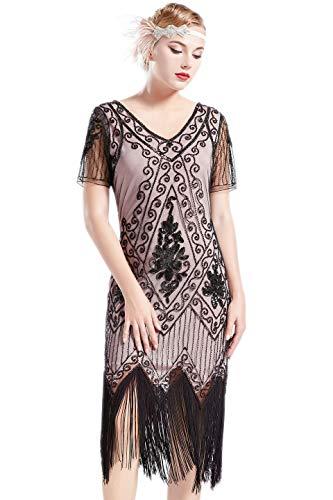 ArtiDeco - Vestido de mujer estilo años 20 con mangas cortas, disfraz de Gatsby para fiestas temáticas Beige negro. M-36/38/40