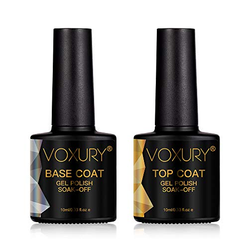 VOXURY UV LED Gellack Gel Nagellack Base & No Wipe Top Coat Unterlack & Überlack Set Gel Polish 2×10ml