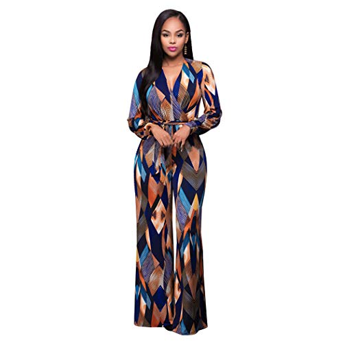Best Prices! Trendy Long Sleeve Green Tropical Beach Vintage Maxi Jumpsuit Boho Casual V Neck Belt L...